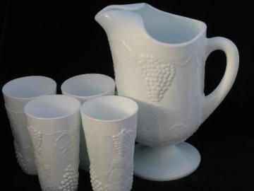 Indiana harvest grapes vintage milk white pressed glass pitcher & tall tumblers