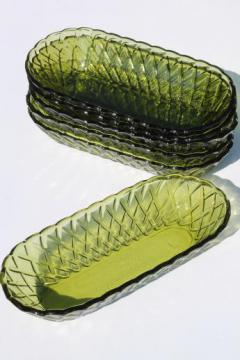 Indiana pretzel avocado green glass serving dishes, long bowls or celery trays