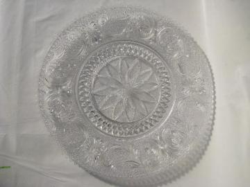 Indiana sandwich daisy pattern cake torte plate, vintage Tiara glass