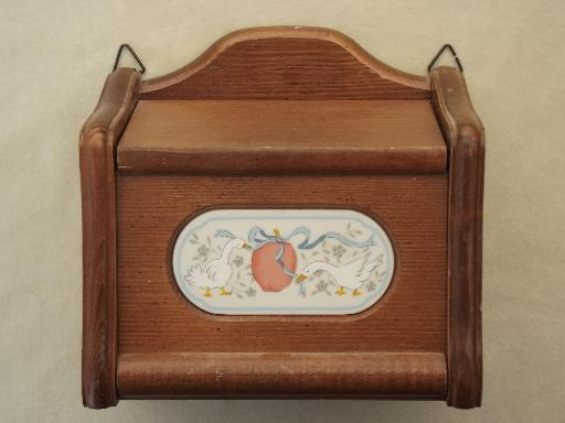 International Marmalade geese w/ apple wall box, 80s goose pattern recipe box