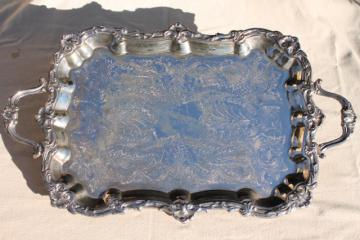 International silver plate tray, tea set serving tray or hall table tray