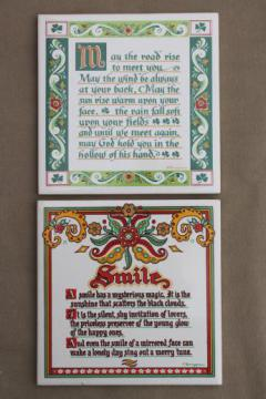 Irish Blessing & Smile motto tiles, vintage Berggren tile kitchen trivets