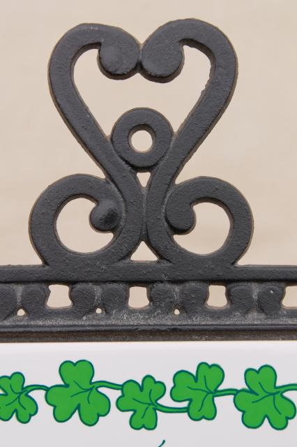Irish Blessing kitchen trivet, vintage ceramic tile cast iron decorative trivet