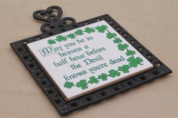 Irish Blessing kitchen trivet, vintage ceramic tile cast iron decorative trivet