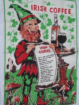 Irish Coffee recipe print linen tea of kitchen towel, made in Ireland
