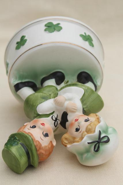 Irish dancers music box vintage ceramic St Patrick's Day leprechaun boy & girl