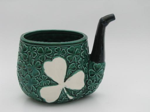 Irish shamrocks leprechaun&s pipe ceramic planter, vintage Relpo - Japan