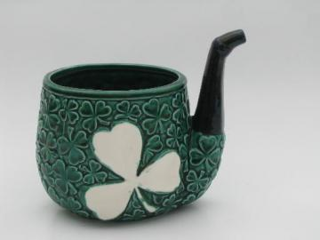 Irish shamrocks leprechaun's pipe ceramic planter, vintage Relpo - Japan