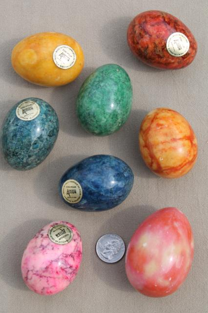 Italian Alabaster Marble Eggs Dyed Easter Egg Colors