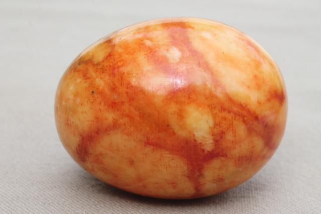 Italian alabaster marble eggs dyed Easter egg colors, vintage stone egg collection