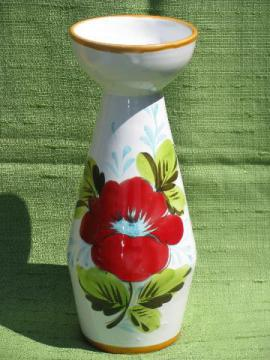 Italian art pottery, large hand-painted vase 60s-70s vintage Italy