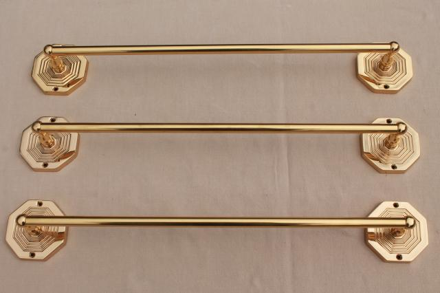 Italian Br Towel Bar Rods W Wall Mount Brackets New Old Stock Vintage Hardware
