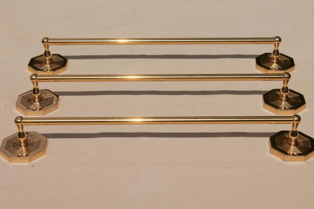Italian Br Towel Bar Rods W Wall Mount Brackets New Old Stock Vintage Hardware