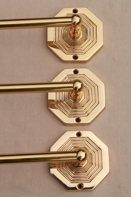 Italian brass towel bar rods w/ wall mount brackets, new old stock vintage hardware