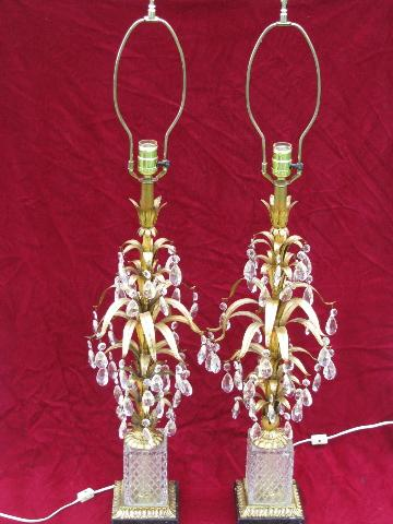 Italian tole / black marble vintage gold leaf table lamps pair, tons of glass prisms