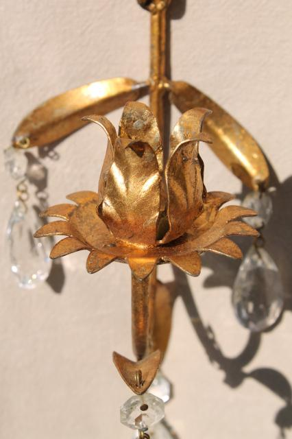 Italian tole vintage gold metal wall sconce candle holders w/ glass teardrop prisms
