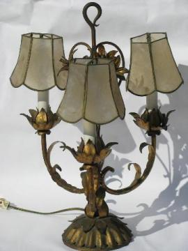 Italian tole wrought metal candelabra table lamp, antique gold flowers, capiz shell shades