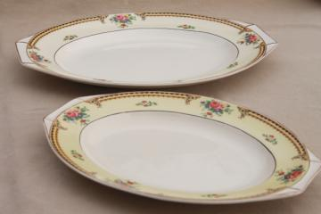 J & G Meakin Sol serving platters, English country cottage china pink roses floral border