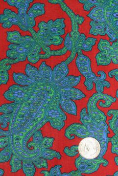 J Manes fancee free 60s freeform print cotton fabric teal green blue red