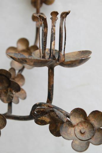 Japanese ironwork wall sconce candle holder, wab-sabi wrought iron cherry blossoms