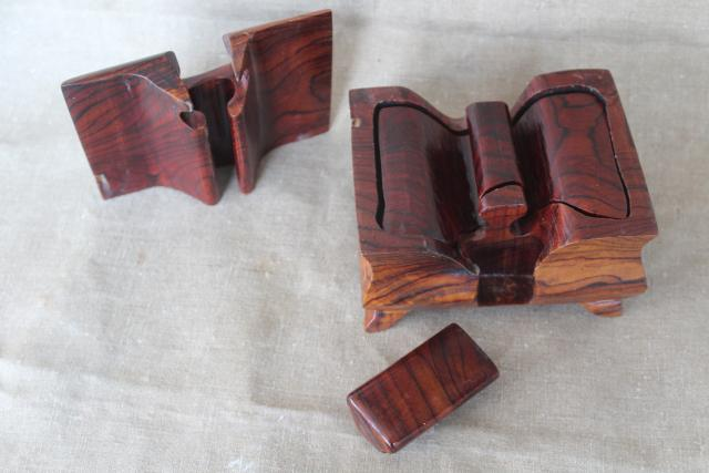 Japanese puzzle box, hand crafted wood trinket box with