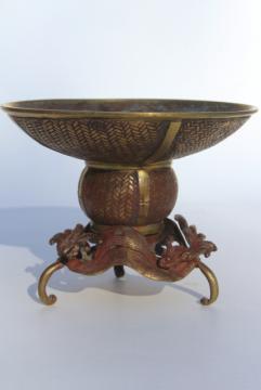Japanese usubata flower holder, antique vintage bronze vase w/ wave design