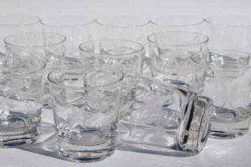 Javit crystal Starflower wheel cut etched old fashioned glasses, weighted bottom tumblers