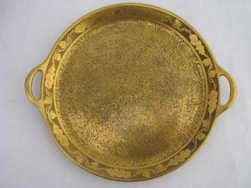 Jean Pouyat - Limoges France, antique vintage French china handled tray w/ gold
