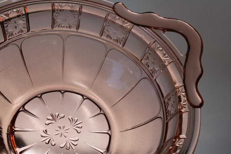 Jeannette Doric pattern vintage pink depression glass dessert dishes & big bowl