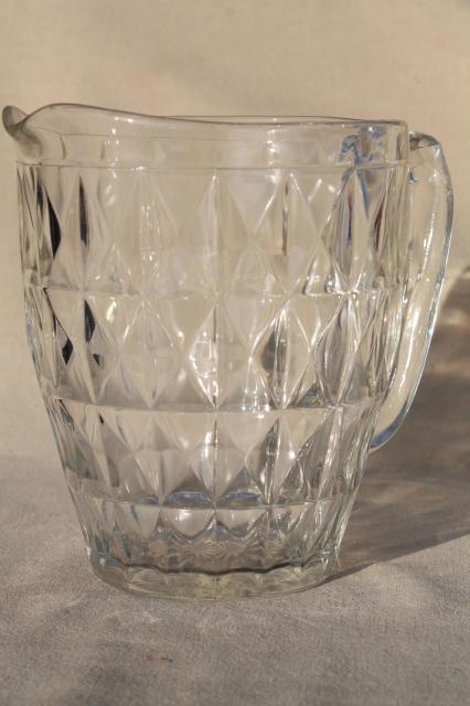 Jeannette Windsor Pattern Clear Glass Pitcher Vintage