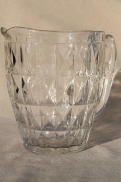 Jeannette Windsor pattern clear glass pitcher, vintage depression glass