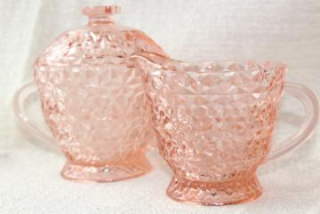 Jeannette buttons and bows holiday pattern blush pink glass cream and sugar set