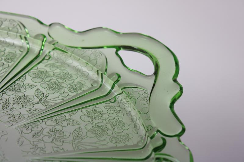 Jeannette cherry blossom pattern green depression glass round tray or plate, 1930s vintage