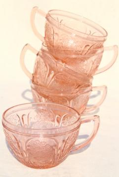 Jeannette cherry blossom pink depression glass tea cups, vintage blush pink glassware