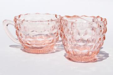 Jeannette cubist pattern vintage pink depression glass cream pitcher & sugar set