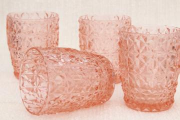 Jeannette holiday buttons and bows pattern flat tumblers, vintage pink depression glass