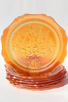 Jeannette iris & herringbone dinner plates, vintage marigold iridescent carnival glass