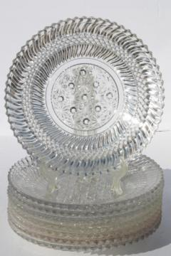 Jersey swirl pattern pressed glass, 8 antique vintage glass dinner plates