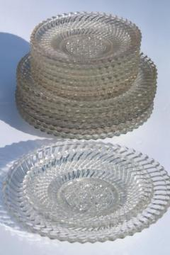 Jersey swirl pattern pressed glass, antique vintage glass salad plates & bread plates