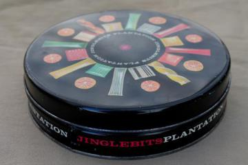 Jingle Bits vintage metal tin with mid-century mod candy starburst print