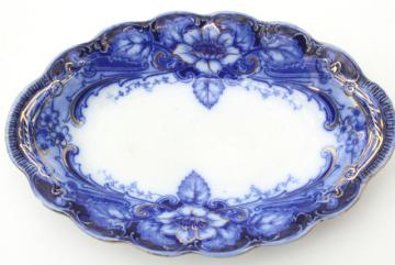 Johnson Bros Argyle flow blue, antique blue & white china platter or mini tray