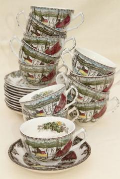 Johnson Bros Friendly Village 12 cup & saucer sets, vintage china teacups & saucers