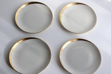 Jubilee Pickard china vintage bread & butter plates, asymmetrical gold arc on ivory cream