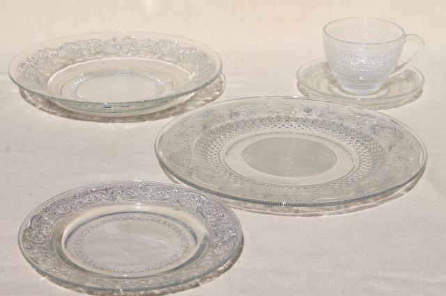 KIG Malaysia sandwich pattern pressed glass dishes crystal clear dinnerware set for 4 & KIG Malaysia sandwich pattern pressed glass dishes crystal clear ...