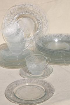 KIG Malaysia sandwich pattern pressed glass dishes, crystal clear dinnerware set for 4