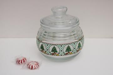 KIG glass canister jar, holiday candy dish w/ Christmas tree print mint green plaid
