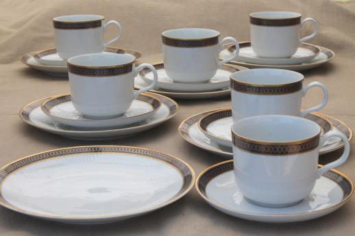 Kahla Gdr Germany Porcelain Demite Coffee Cups Dessert Plates Set Cobalt Blue Gold