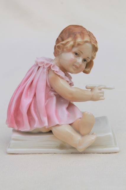 Karl Ens Germany vintage china piano baby, early 1900s antique figurine little girl