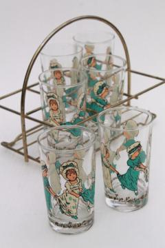 Kate Greenaway print drinking glasses, vintage tumblers w/ old-fashioned girls