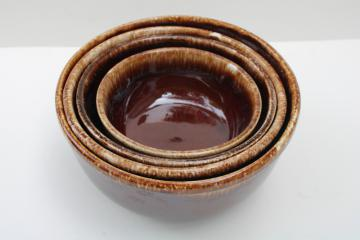Kathy Kale brown drip glaze McCoy pottery stack of nesting mixing / serving bowls